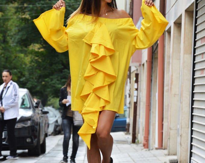 Extravagant Soft Yellow Casual Shirt, Asymmetric Oversize Shirt, New Design Shirt, Trumpet Sleeves By SSDfashion
