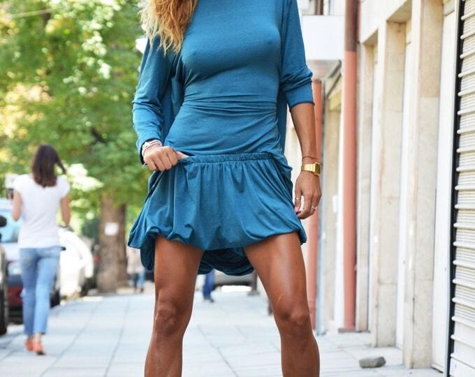 Plus Size Extravagant Set, Loose Shorts, Turquoise Casual Tunic, Summer Open Back Blouse, Maxi Elegant Set by SSDfashion