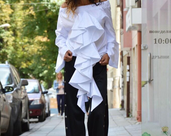 White Soft Cotton Shirt, Oversize Extravagant Sleeves, Designer Summer Blouse , Casual Shirt by SSDfashion