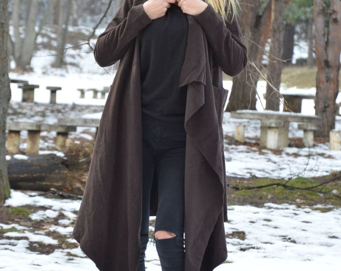 Women Coats, Cashmere Brown Coat, Asymmetric Wool Fabric Coat, Large Side Pockets Fashion Coat by SSDfashion