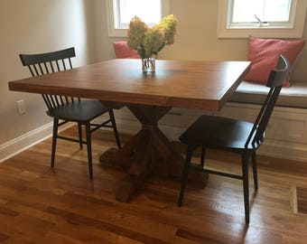 Square Farm Table with Trestle Pedestal Base