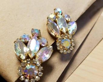 Lovely - Elegant - Aurora Boralis Vintage Clip On Earrings. Complimentary Shipping.