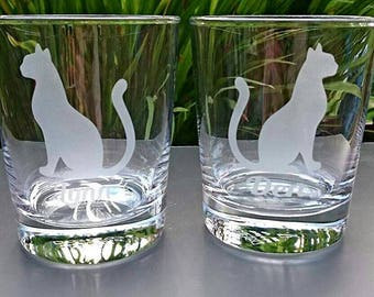 Personalised Engraved Cat Tumbler Glass - New