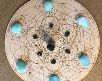 Metatron's Cube and Flower of Life Crystal Grid - Metatron's Cube - 3, 6, 9 or 12 Inches - Wooden Crystal Grid - Sacred Geometry
