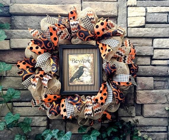 Halloween Wreath, Burlap Wreath, Mesh Wreath, Primitive Halloween, Crow Wreath, Halloween Decor, Halloween Decoration, Farmhouse Halloween