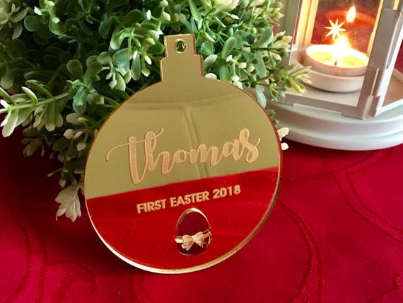 My First Easter Ornament 2018 Personalized bauble Baby's 1st Easter Gift Laser cut egg Tree Decorations Custom Easter Basket Decor Name Tags