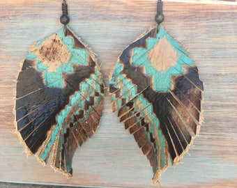 Leather Navajo earrings
