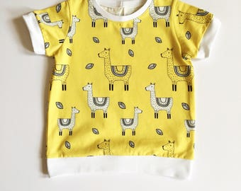 Llama Tee~Age 2~Girls T shirt~Organic cotton~Llamas~Llama print~Boys top~Girls top~Childs T shirt~Funky T shirt~Handmade~T shirt