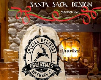 ON SALE Christmas svg Files SANTA Sack Svg Cutting Files, diy Santa Bag Svg Files Silhouette Designer Edition,  Vintage Santa Sack