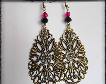 Color bronze Teardrop filigree earrings