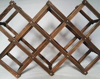 Bottle rack, Wooden wine rack, Folding wooden wine rack, Wooden wine rack for 8 bottles, Aged wooden wine rack, Botellero plegable