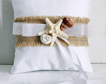 Beach Ring Bearer Pillow Florida SeaShell Starfish, Beach Wedding Seashell Ring Pillow Beach Wedding Destination Wedding