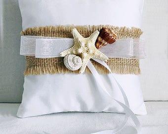 Beach SeaShell Starfish Ring Bearer Pillow Florida, Beach Wedding Seashell Ring Pillow Beach Wedding Destination Wedding