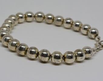 Lovely Silver tone Beaded Bracelet