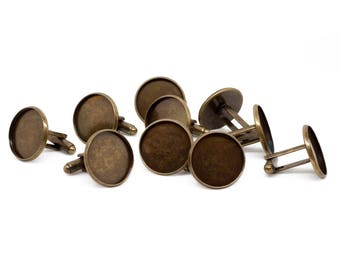20x Antique Bronze Cufflink Setting Blanks Fits 18mm Cabochon