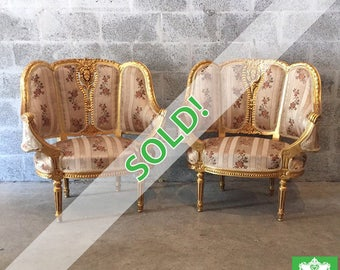 SOLD* French furniture French Chairs Louis XVI WingbackChair Rococo Furniture Baroque French Settee Gold Leaf *2 Chairs Available* Antique