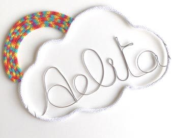 White cloud and his Rainbow and name in thread silver