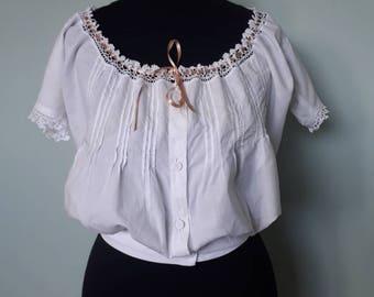 Victorian camisole, corset cover white cotton crochet lace detail adjustable yoke Approx UK 12 14 US 8 10 Vintage antique shirt blouse