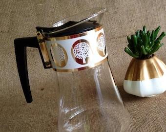 ON SALE Vintage David Douglas Glass Coffee Carafe, Coffee Pot, Gold, White, Tree Design, Mid Century, Cottage Chic, Retro, Kitsch
