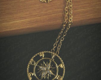 """18"""" Gold Plated Love Compass Adventure Necklace"""