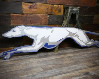 Greyhound Bus Double Sided Large Wooden Vintage Wood Sign Dog Bus Station Terminal Advertising Bus Driver Large Display Blue White Silver