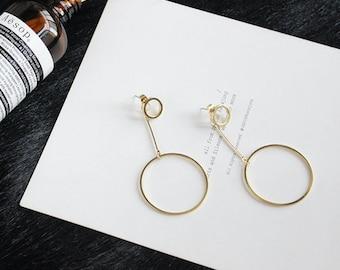 Versatile! Wear Multiple Ways - Trendy Gold Double Hoop and Rod Geometric Statement Dangle Drop Earrings