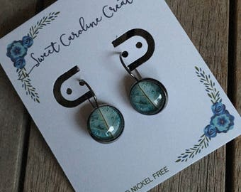Blue Leaf dangle earrings
