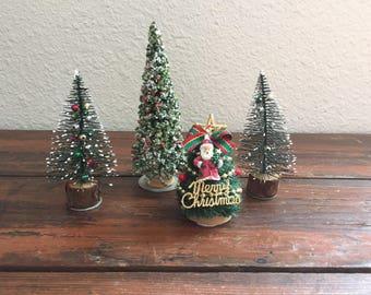 Set of 4 Embellished Bottle Brush Trees / Vintage Christmas Tree / Holiday Decoration