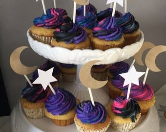 Stars and moons cupcake toppers