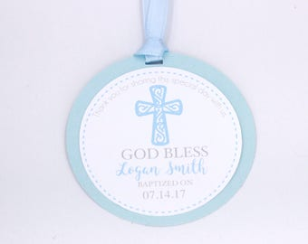 Baptism Favor Tags, Christening Favor Tags, Baptism Thank You Tags, Baptism Favors, First Communion Favor Tags, Baptism Gift Tag, Light Blue