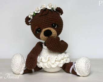 Elfin Thread- Bonbon, the Ballerina Bear Amigurumi PDF PAttern (Crochet Ballerina Bear)
