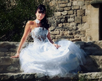 "wedding dress ""transparent"" white tulle and lace"