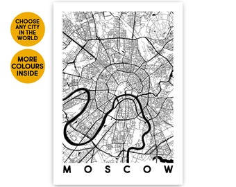 Moscow map posters Anniversary gift map prints Christmas gift for Husband gift for Girlfriend gift for Sister gift for Brother gift for her
