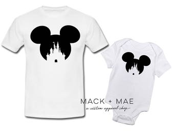 Mickey Mouse Cinderella's Castle Disney World Inspired Men's OR Child's Bodysuit/Tee, Disney Shirt, Walt Disney World, Mouse Ears