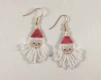 Santa Claus Beaded Earrings, Brick Stitch, Red and White, Christmas Earrings, Ho Ho Ho, Christmas Jewelry, Happy Holidays