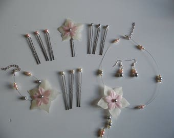 set of jewelry set bridal wedding necklace, bracelet, earrings and hair accessories silk flower pink/ivory/gray