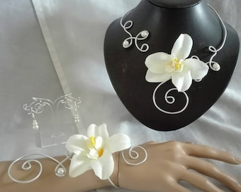 Set 3 pieces clear ivory thai Orchid aluminum wire beads wedding bridal evening party