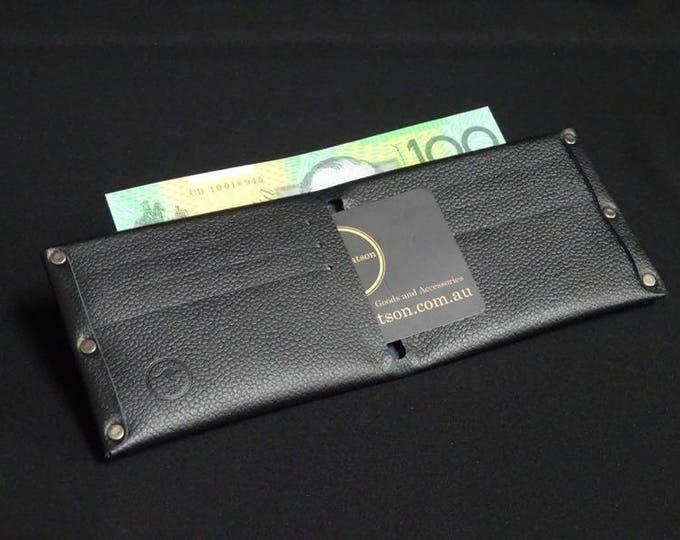 6and2-Pocket Wallet - Black Texture - Kangaroo leather with RFID credit card blocking - Handmade - Mens/Womens - James Watson