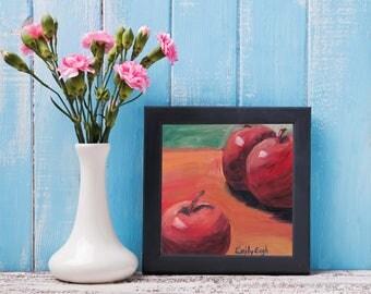 Apple Painting - Red Apple Painting - Fruit Painting - Fruit Still Life - Apple Still Life - Original Oil Painting - Apple Decor - Apple Art