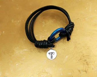"""Type 2 Diabetes Bracelet-Cotton-Type Two Diabetic Jewelry-Universal T2D Symbol-Blue Circle Symb Type Two Diabetes with 3/8"""" T1D Stamped Tag"""