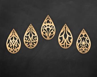 Faux leather earrings Set, Tear drop Pendant laser cut templates, Cutting File / SVG, DXF Cricut maker / Silhouette Cameo bijouterie design