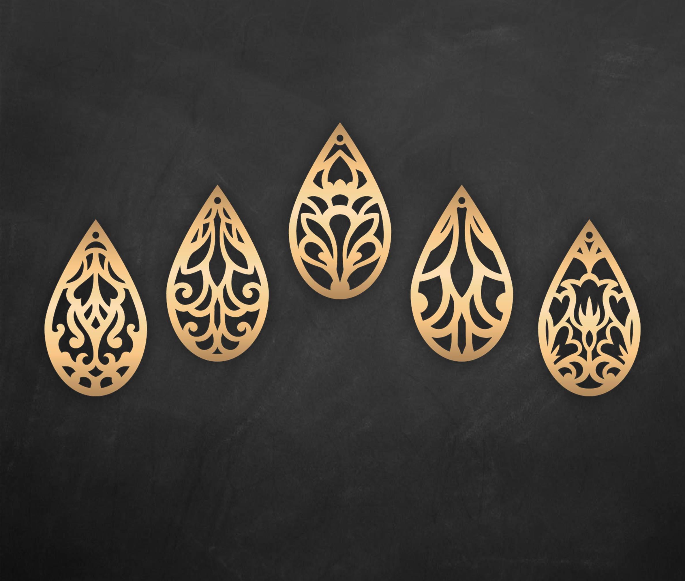 Download Faux leather earrings Set, Tear drop Pendant laser cut ...