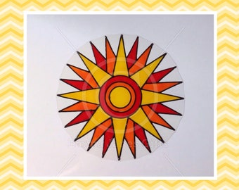 Sun, Sunburst window cling hand painted decal for glass & mirror surfaces, reusable faux stained glass static cling