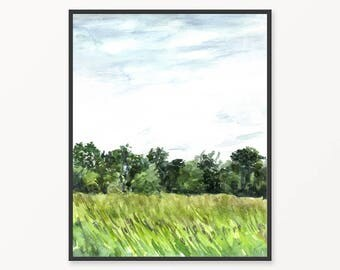 Landscape painting, printable painting, printable watercolor painting, printable landscape, landscape wall art, nature wall art, green print
