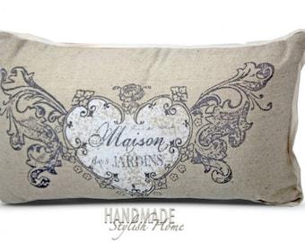 shabby chic throwpillow, linen throw pillow, French pillow, barn pillow, heart, maison