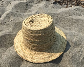 Moroccan straw hat, hand woven palm leaf hat, Moroccan sun hat, beach hat, men's hat, woman's hat, made in Morocco, plain straw hat, straw