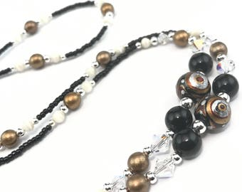 Beaded Eyeglass Chain/Holder-Black & Bronze ~ Swarovski Crystal