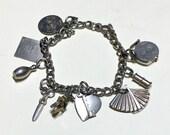 Vintage retro charm bracelet, 7 inch, kitschy charm bracelet, rockabilly charm bracelet, gold charm bracelet 1960s