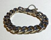 Vintage heavy Cuban link chain bracelet, 7 inches, faded goldtone metal, Cuban link bracelet, chunky bracelet, link bracelet, 1970s