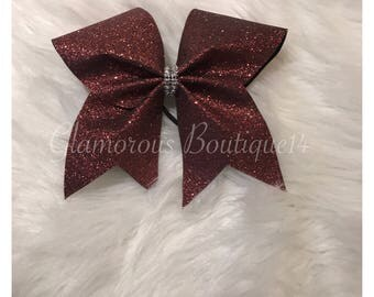 Glitter Brown Cheer Bow